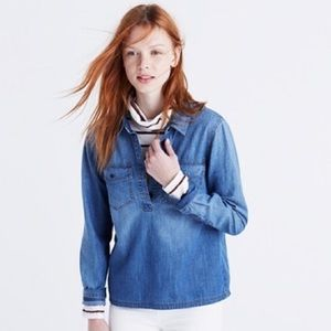 Madewell Denim Pocket Popover Button Down Shirt